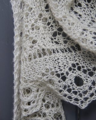 Lauras Loom, Hand Knitted lace shawl - cream