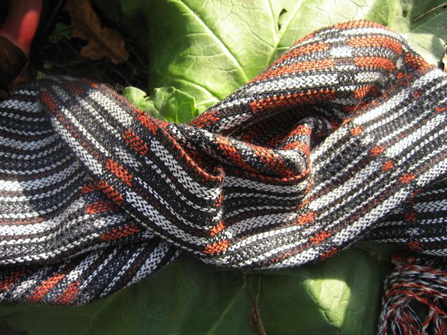 Laura's Loom, handwoven, scarf, silk, Penguin, orange