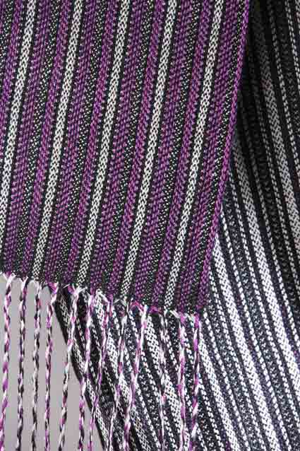 Laura's Loom, handwoven, scarf, silk, Penguin, purple