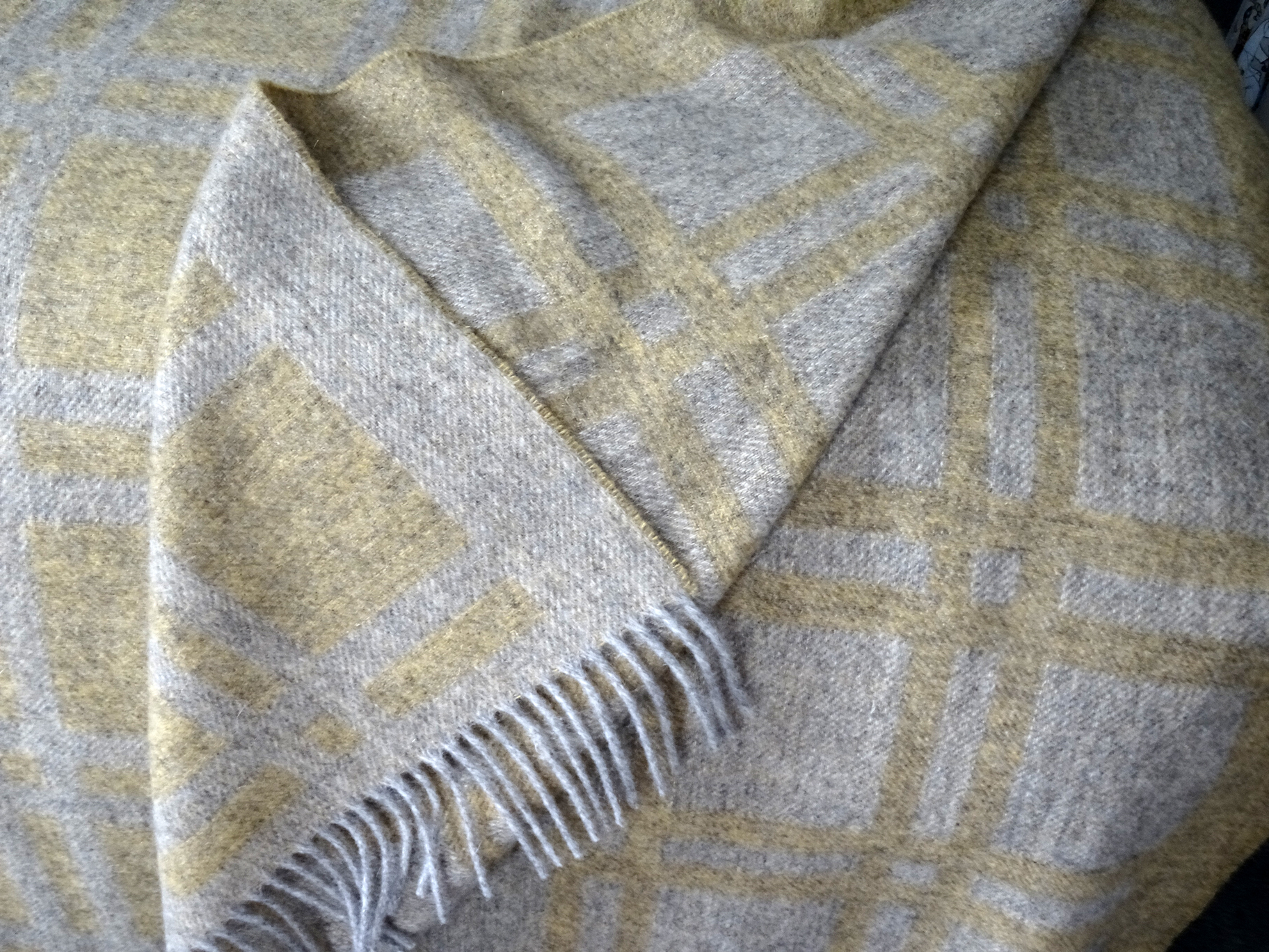Cumbrian Summer blanket by Laura's Loom in soft Lichen yellow