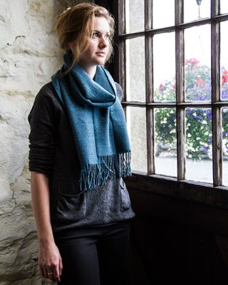 Laura's Loom, Scarves, Howgill stripe, Rich Check model