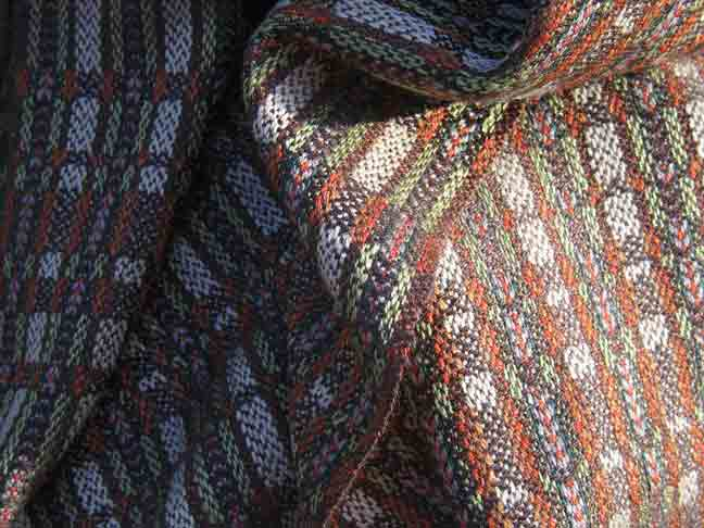 Laura's Loom, handwoven, scarf, silk, woodland