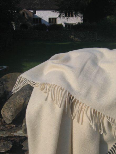 Laura's Loom, Howgill Classic Throw, Cream, Brigflatts
