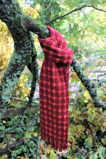 Laura's Loom, handwoven, bubble scarf, lambswool