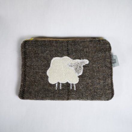 Laura's Loom, zipped pouch, grey-brown with sheep