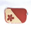 Laura's Loom, zipped pouch, red-yellow with flower