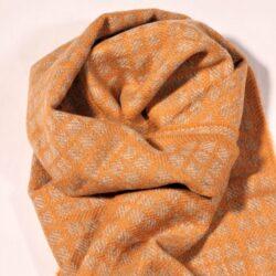 Laura's Loom, Westmorland Scarf, 100% British wool, Medium Lichen Yellow