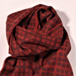 Laura's Loom, Westmorland Scarf, 100% British wool, Dark Madder Red